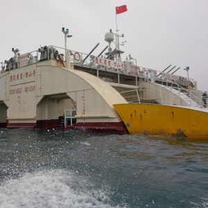 TC114 group site visit to the Sharp Eagle wave energy converter off the coast of Wanshan island.