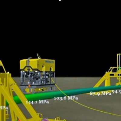 Image of an ROV repairing a subsea pipeline