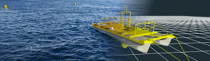 Image of the ecoSpray Tidal energy platform images merged from real-life to simulation