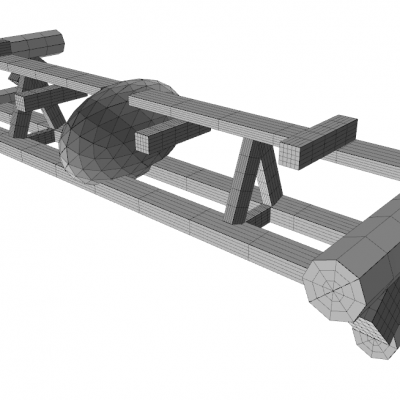 Image of ProteusDS model of the taut-moored platform PLAT-O#2 showing sub-geometries, which are used to approximate drag and added mass loading on the platform