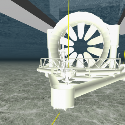 A post processing graphic Image of the OpenHydro Tidal Turbine in ProteusDS dynamic analysis software.