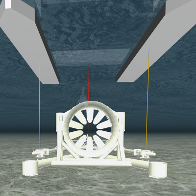 Image of the OpenHydro Tidal Turbine platform in ProteusDS dynamic analysis software.