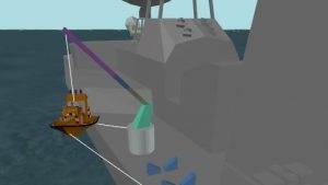 Image of a launch and recovery simulation in ProteusDS of a recovery boat from a frigate
