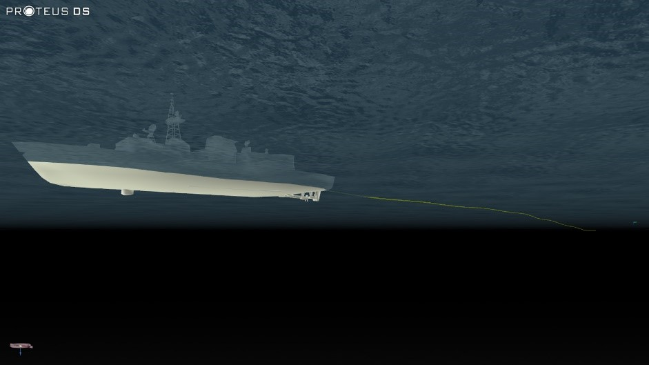Towed array simulation in ProteusDS