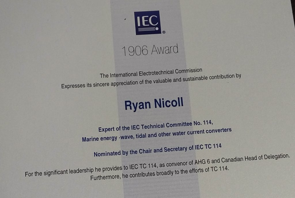 Image of Ryan Nicoll's 1906-Award from the International Electrotechnical Commission (IEC)