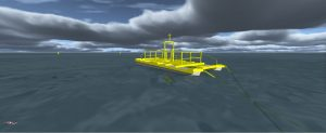 Image of a ProteusDS simulation of the ecoSpray tidal energy platform
