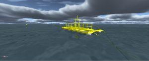 Image of a ProteusDS simulation of the ecoSpray tidal energy platform
