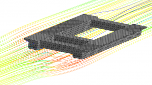 Image of a CFD analysis of a complex barge hull